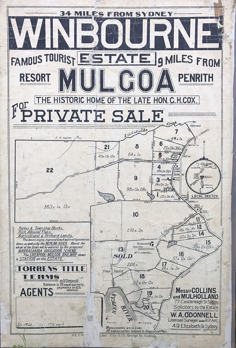 Winbourne Estate Mulgoa for sale poster from 1921.