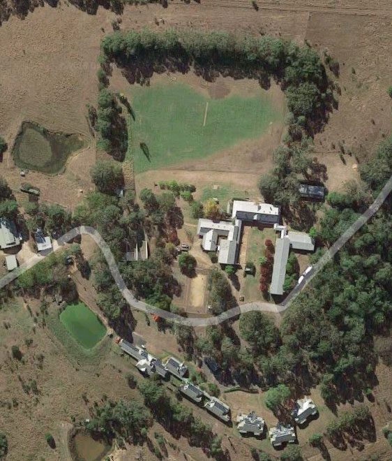 Aerial view of Winbourne Function Centre in Mulgoa near Penrith Western Sydney NSW. Contact us now for your next group function, conference, wedding or school camp.